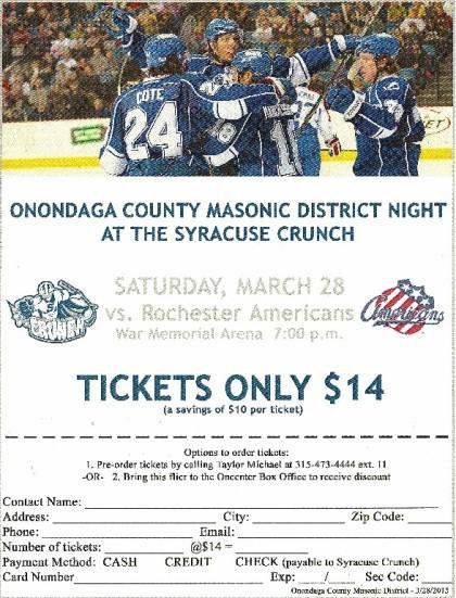 Syracuse Crunch ticket order form