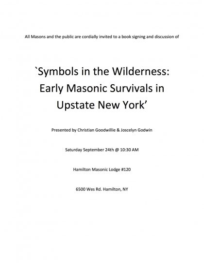 Symbols In The Wilderness Early Masonic Survivals In Upstate New